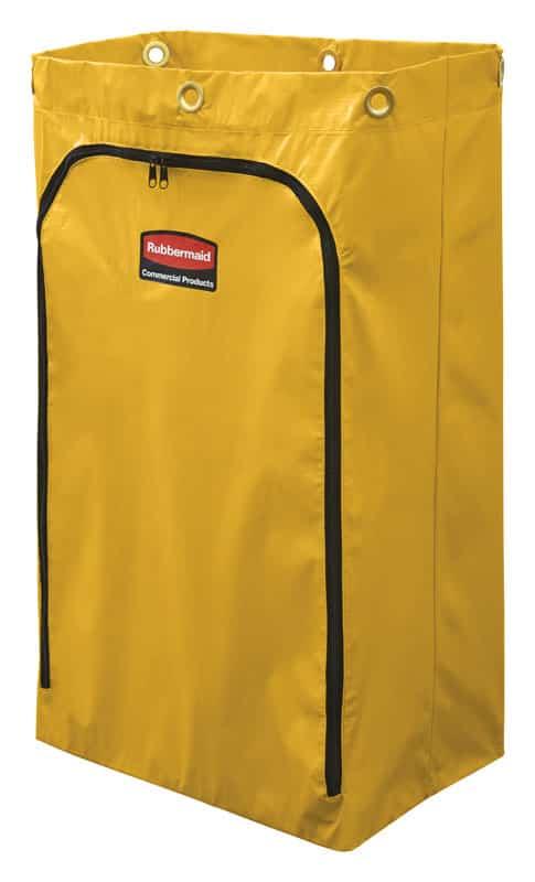 Gele vinylzak voor schoonmaakkarren en hotelwagens.